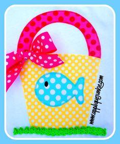 Bucket with Fish Applique Design