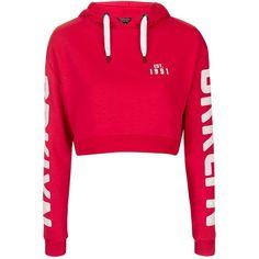 TopShop Brooklyn Cropped Hoodie ($42) ❤ liked on Polyvore featuring tops, hoodies, cropped hoodie, cropped hoodies, pink hooded sweatshirt, sweatshirt hoodies and pink hoodie
