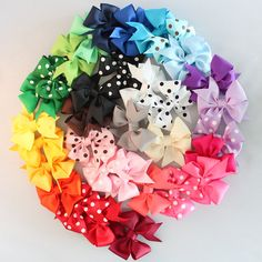 Infant Hair Clips - 20 Medium Pinwheel - Hair bow for newborn - Uniform accessory - Bow for shower - girl bow - simple bow. Choose colors $36