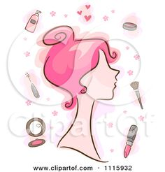 pink items images | Clipart Pink Haired Woman With Makeup Items - Royalty Free Vector ...