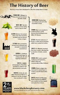 The History of Beer   The history of beer dates back over 9,000 years to when fermented alcoholic drinks were first being brewed in rural China. This timeline charts the ev
