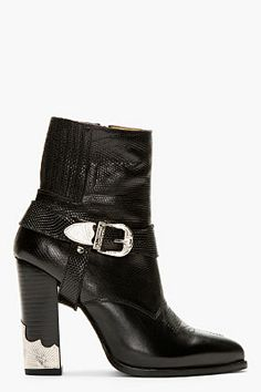 Toga Pulla ~ Black Leather Croc-embossed Ankle Boot for women