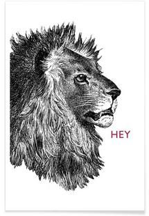 Hey Lion - The Gently Unfurling Sneak - Premium Poster