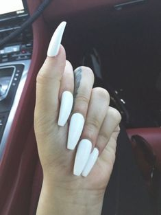 (Advertisement) NEW Long Coffin Press On Nails Handmade Design White Nails Long White Nails, White Coffin Nails, White Stiletto Nails, Coffin Nails Long, Dope Nails, My Nails, Hair And Nails, Kylie Jenner Instagram, Long Acrylic Nails