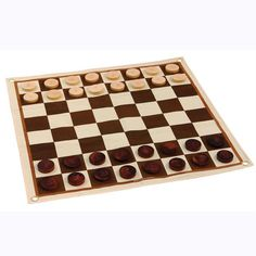 Enjoy chess or checkers outside with this oversized canvas outdoor chess and checkers set.