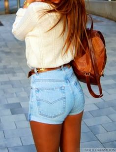 jean shorts, sweater shirt and handbag a perfect spring look.
