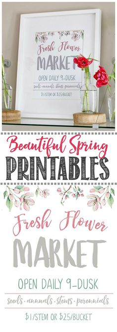 Cute Fresh Flower Market free spring printable. Such a quick and easy way to add a pretty touch of spring to your home. Click through for lots of other beautiful free spring printables to download and display.     #springdecor #springdecorating #springideas #free printables #springprintable #freshflowermarket