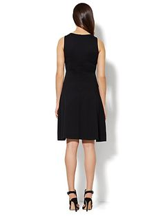 I own this dress, works great for apple shape and large bust. Size down, though. - Sleeveless Cotton Flare Dress - Solid - New York & Company