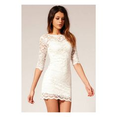 SheIn(sheinside) White Round Neck Slim Bodycon Lace Dress (45 BRL) ❤ liked on Polyvore