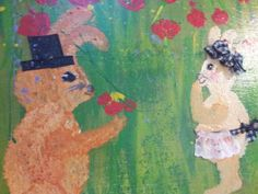 A Gentleman Gives Flowers Original acrylic by FromUnderTheTree, $75.00