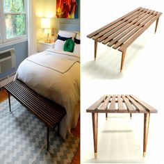 Mid Century Modern Slat Table Bench by thevintedgeco on Etsy