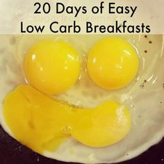 20 Low Carb Breakfast Ideas - great options for your morning meal that don't require a lot of time, work, or ingredients! From Sugar Free Like Me #healthy #lowcarb