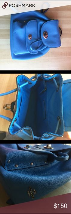 👜 Coach mini backpack. Paid 285. Used for a few weeks before I decided it Wasn't my style. 2 Very slightly worn corners. See fourth pic. Otherwise perfect. Approx 8x9 1/2x 4. Comes with dust cover bag Coach Bags Backpacks