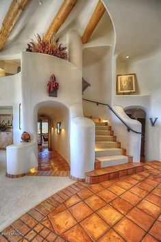 Pueblo-style staircase in Scottsdale, AZ - My-House-My-Home Future House, My House, House Inside, Earthship Home, Earthship Design, Spanish Style Homes, Spanish House Design, Hacienda Style Homes, Spanish Style Bathrooms