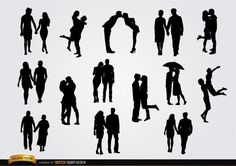 Set with 14 silhouettes of couples in love, holding hands, kissing, hugging, etc. These are perfect silhouettes for any promo related to couples and love. Under Commons 4.0. Attribution License.
