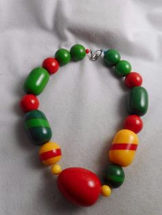 6905282b777c Big   bold vintage red yellow green solid   striped bakelite bead necklace