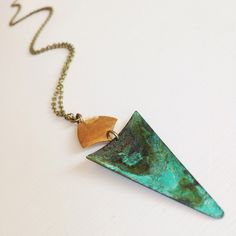 // esmeralda // hammered brass geometric connector + verdigris triangle on custom length brass chain #oveco #otravez #otravezecotique #ov_eco