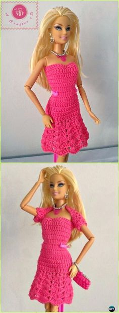 Crochet fashion doll strapless flared dress Free Pattern -Crochet Doll Clothes Outfits Free Patterns