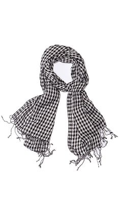 Long Houndstooth, Black/White Wrap Scarf.