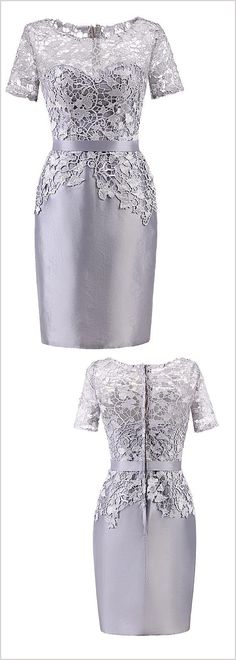 In Stock Popular Lace & Taffeta Bateau Neckline Short Sleeves Sheath/Column Mother Of The Bride Dresses With Belt