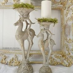 These custom reindeer candle holders are totally unique and one of a kind. They would add a gorgeous statement to your Christmas decor. Beautiful candle sticks painted a soft French gray/tan color wit