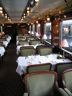 Dining car. Not many travel by train in the U.S. these days and that is too bad. I have fond memories of taking a train with my mother and brother to Washington D.C. several times when I was young.