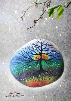 Art - Time Sunset painted Rock: I've painted rocks before, but nothing this breathtaking!