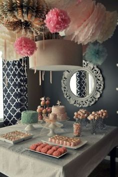 pretty poms and desserts. cake pops on the straws. @Brittany Weaver- Fly Away Home