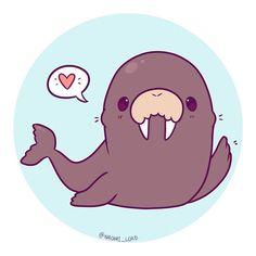 "Polubienia: 3,939, komentarze: 27 – Naomi Lord (@naomi_lord) na Instagramie: ""Kawaii Walrus? I feel like walruses should all have top hats :3 I think that would help their…"""