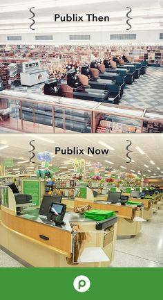 Publix Super Markets has been around for 87 years. With each year comes change and thus, history is created. Pictured are our checkout lanes in the early 1950s vs. today's more modern front end service department.