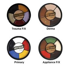Camera Ready Cosmetics™ - Developed with the expertise of an Academy Award winning makeup artist, Graftobian's Appliance Rubber Mask Grease Wheels have the best and most commonly-used colors in the industry for covering latex and foam latex in special effects makeup! ($16)