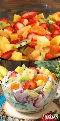 Hawaiian Cheesecake Salad comes together so simply with fresh tropical fruit and a rich and creamy cheesecake filling to create the most glorious fruit salad ever! Every bite is absolutely bursting wi is part of Cheesecake fruit salad - Cheesecake Fruit Salad, Fruit Salad Recipes, Fruit Snacks, Italian Cheesecake, Hawaiian Cheesecake Salad Recipe, Eat Fruit, Fruit Trifle, Creamy Fruit Salads, Salad Cake