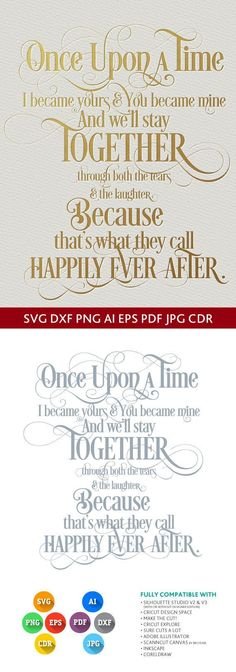 Once upon a time I became yours and you became mine SVG quote - SVG DXF for Studio Png Eps Pdf Jpg Ai Cdr cut for Silhouette, Cricut, Cameo