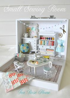Reveal of Small Sewing Room! (Tea Rose Home) Big Reveal of Small Sewing Room! MoreBig Reveal of Small Sewing Room! Miniature Rooms, Miniature Crafts, Miniature Houses, Miniature Furniture, Dollhouse Furniture, Home Furniture, Small Sewing Rooms, Sewing Spaces, Creation Deco
