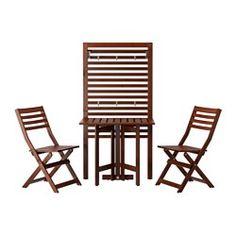 ÄPPLARÖ Wall panel+gatleg table+2 chairs, outdoor, brown stained - IKEA