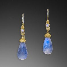 Zaffiro Jewelry Classic Collection Earrings are set with Moonstone briolettes (8.7x17.7mm, 16.45tcw) and Diamonds (.14tcw) in granulated 22kt yellow gold with 18kt french hooks.