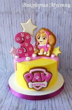 Cake with gingerbread. Girls Paw Patrol Cake, Skye Paw Patrol Cake, Torta Paw Patrol, Paw Patrol Birthday Girl, Dog Cakes, Girl Cakes, Bolo Da Peppa Pig, Cake Designs For Boy, Paw Patrol Decorations