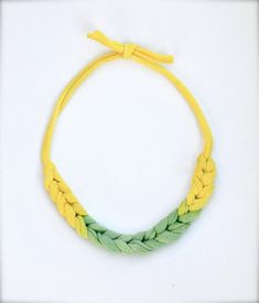 Daffodil Statement Necklace in hand-dyed Recycled Ombre Fabric by Pamplepluie, $18.00