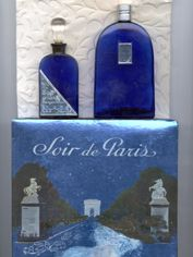 """""""Soir de Paris - Evening in Paris"""" - by Bourjois, Paris. My grandaunt's distinct signature scent. She kept the bottle in a chest of drawers and everything in the drawers smelled like """"Evening in Paris"""". - Soir de Paris, eau de Cologne/parfum, was created in 1928 - discontinued in 1969 – and redesigned and re-launched in 1992! The famous bottles are of cobalt blue glass."""
