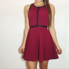 """Faux Leather Trim Skater Dress Beautiful skater dress with faux leather trim and back detail. -Size Small. Fits 26-27"""" waist. -Fully lined. -From online boutique shopmaude.com -Never worn!  NO Trades. Please make all offers through offer button. Maude Dresses"""
