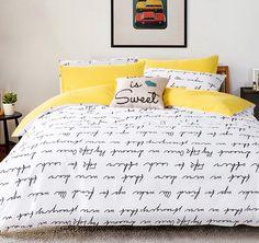 Letter Printing Bedding Sets Duvet Cover Set bed Linen RU USA Size,Quilt cover bed sheet set bedding duvet cover white black