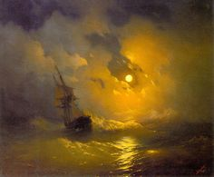 Ivan Constantinovich Aivazovsky Storm in the Sea at Night art painting for sale; Shop your favorite Ivan Constantinovich Aivazovsky Storm in the Sea at Night painting on canvas or frame at discount price. Ship Paintings, Seascape Paintings, Russian Painting, Russian Art, Stürmische See, Stormy Sea, Stormy Night, Night Night, Western Art