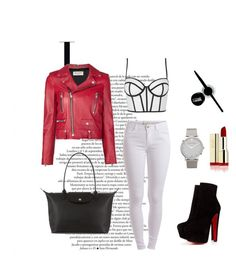 A fashion look from August 2015 featuring bralet tops, biker jackets and white pants. Browse and shop related looks. Larsson & Jennings, Little Red, Longchamp, Maybelline, Polyvore Fashion, Yves Saint Laurent, Christian Louboutin, Topshop, Stuff To Buy