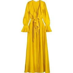Merchant Archive Ruffled silk-satin gown (€1.130) ❤ liked on Polyvore featuring dresses, gowns, gold, frilly dresses, yellow evening dress, frill dress, flutter-sleeve dress and flounce dress