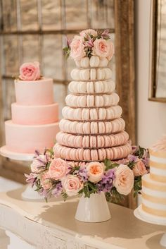 Pink blush macaron wedding cake with peonies and roses for this Almonry barn South West romantic wedding captured by Naomi Kenton Photography.