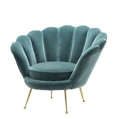 Eichholtz Trapezium Chair – Art Deco shell chair with deep turquoise velvet finish and brass legs. Add a touch of vintage nostalgia to your home interior space with the Eichholtz Trapezium Ch… Art Deco Furniture, Luxury Furniture, Home Furniture, Furniture Design, Furniture Chairs, Room Chairs, Velvet Furniture, Rustic Furniture, Handmade Furniture