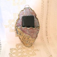 Wall Mounted Cell Phone Charging Station, Stoneware Pottery, Victorian Purple Ornate Oval Docking S Electrical Outlets, Green Accents, Docking Station, Wall Pockets, Stoneware Clay, Ceramic Artists, Wall Mount, Color Schemes, Pottery
