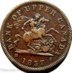 """""""St George the Dragon Slayer"""" 1857 BANK OF UPPER CANADA One Penny Sku #EM3 Saint George And The Dragon, Canadian Coins, Foreign Coins, Old Money, Dragon Slayer, Coin Collecting, Postage Stamps, Banks, Pride"""