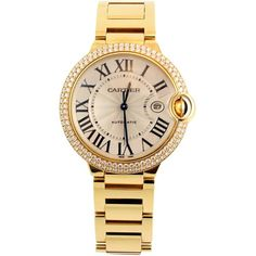 Pre-owned  Yellow Gold Diamond Ballon Bleu De Cartier Bracelet Watch (623.047.785 IDR) ❤ liked on Polyvore featuring jewelry, watches, wrist watches, 18k gold bracelet, diamond bezel watches, gold diamond watches, 18k bracelet and 18 karat gold bracelet