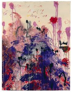 Cy Twombly  American, born 1928  Untitled, 2001  Acrylic and wax crayon on paper  48 3/4 x 37 1/2 in. (124 x 95 cm)  Collection of the Artist, Obj: 189907
